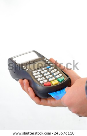 pos terminal and hands isolated - stock photo