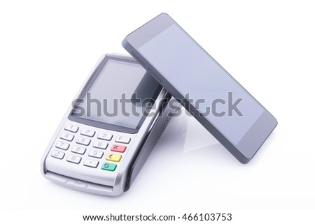 POS terminal with a smartphone to make a sale on white background