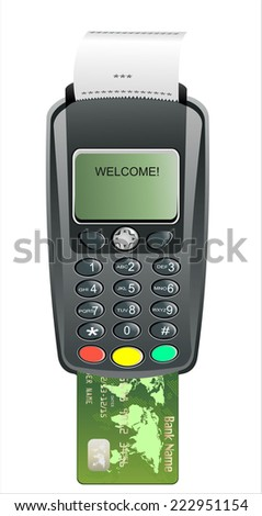 POS terminal with inserted credit card and printed reciept. - stock photo