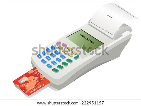 POS terminal with inserted credit card and printed reciept.
