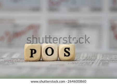 POS word built with letter cubes