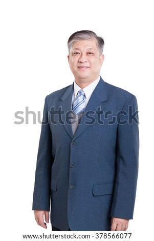 pose and gesture of old Asian businessman in blue suit