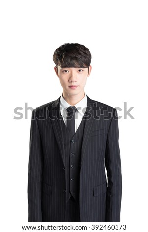 pose and gesture of young handsome asian businessman