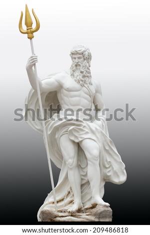 Poseidon on black and white gradient background. - stock photo