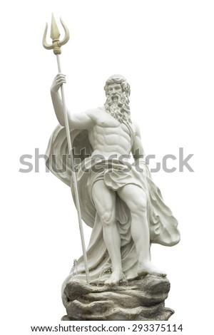 Poseidon statue isolated on white background  - stock photo