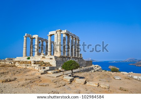 Poseidon Temple at Cape Sounion near Athens, Greece - travel background - stock photo