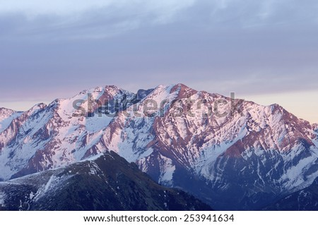 Posets peak, 3375 m., in Pyrenees mountains, Huesca, Aragon, Spain - stock photo