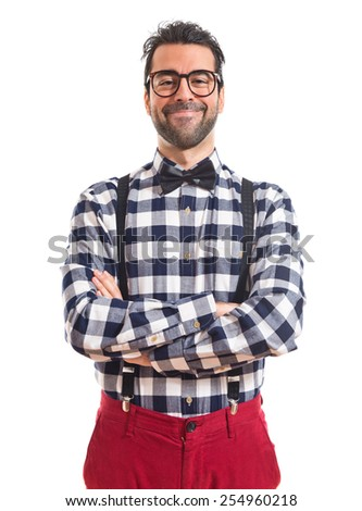 Posh boy  with his arms crossed  - stock photo