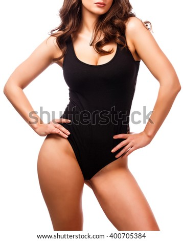 Posh woman with sexy body, white background
