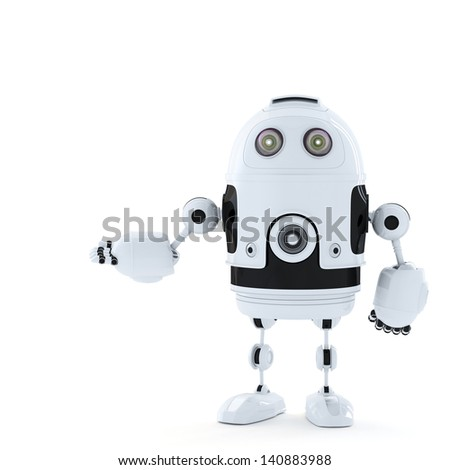 Posing Android Robot.  Rendered over white - stock photo
