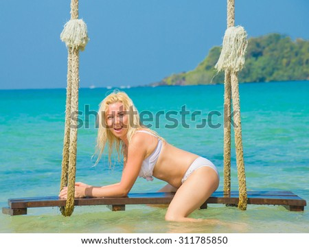 Posing Cute Blonde Woman  - stock photo