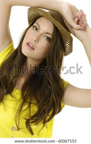 Posing cute fashion model wearing hat - stock photo