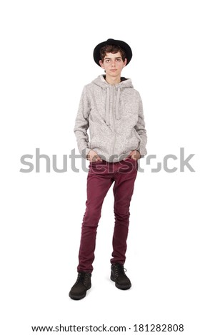 posing full body slim and stylish hat
