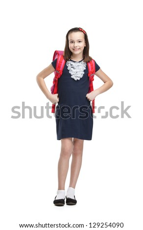 Posing schoolgirl with the briefcase, isolated, white background - stock photo