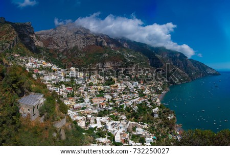 Positano (Campania, Italy) - A vary famous touristic summer town on the sea in southern Italy, province of Salerno, Amalfi Coast