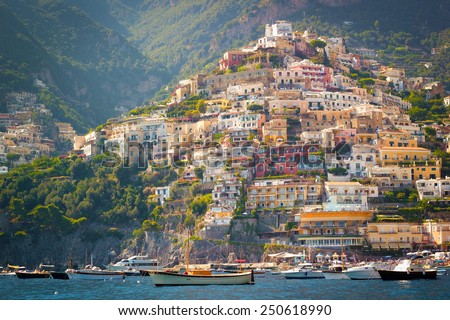 Positano from the sea, Amalfi Coast, Italy. - stock photo