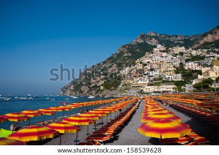 Positano Italy in shades of summer colour - stock photo