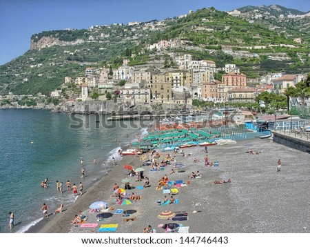 POSITANO, ITALY - MAY 16: Tourists in costiera alamfitana, May 16, 2007 in Positano, Italy. Amalfi coast attracts more than 1 million people every year.
