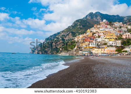 Positano town on Amalfi coast, Italy