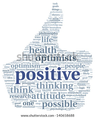 Positive and mindset concept in word tag cloud - stock photo