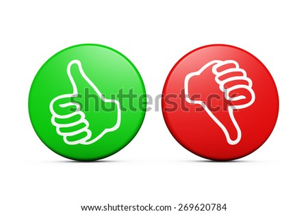 Positive and negative customer feedback, rating and survey buttons with thumb up and down icon on white background. - stock photo