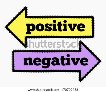Positive and negative signs in yellow and purple arrows concept - stock photo