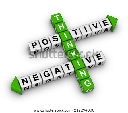 positive and negative thinking crossword puzzle - stock photo