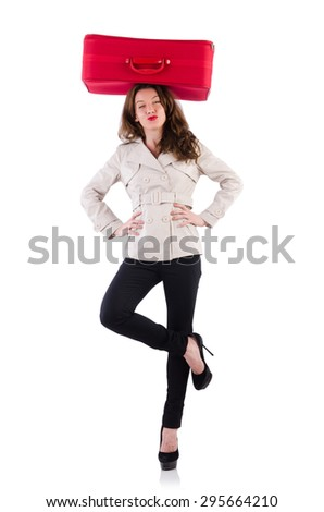 Positive beauty with red suitcase isolated on white - stock photo