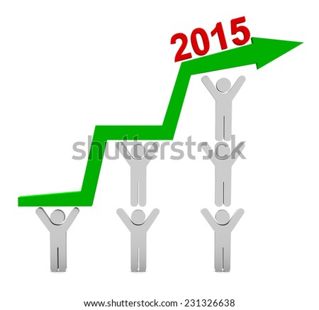 Positive Business Graph illustration isolated on white background  - stock photo