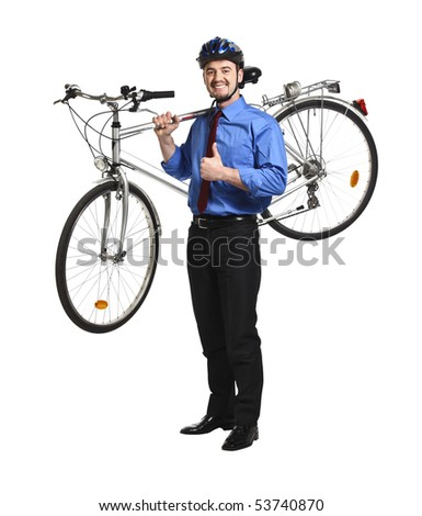 positive businessman with bicycle isolated on white background - stock photo