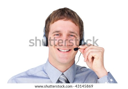 Positive businessmnan with headset on against a white background