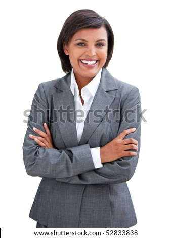 Positive businesswoman with folded arms standing against a white background - stock photo