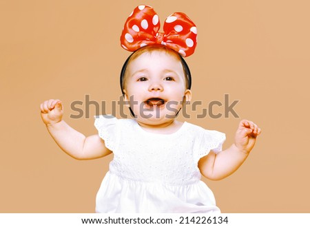 Positive charming little child having fun  - stock photo