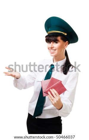 Positive custom control worker with smile hold passports and welcome