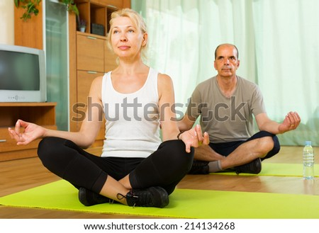 Positive elderly couple doing asana in the living room at home - stock photo