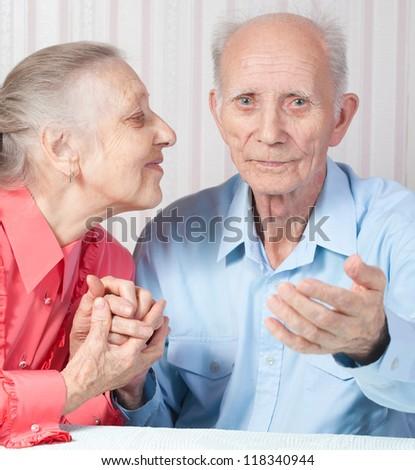 Positive elderly couple happy - stock photo