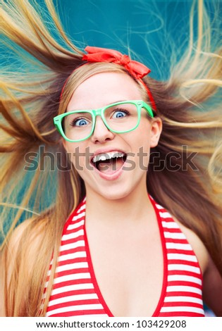 Positive energy portrait - stock photo