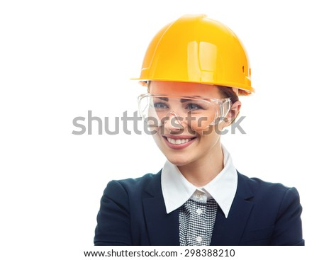 Positive engineer woman with protective helmet, isolated on white background.Close-up of female contractor or entrepreneur, studio-shot