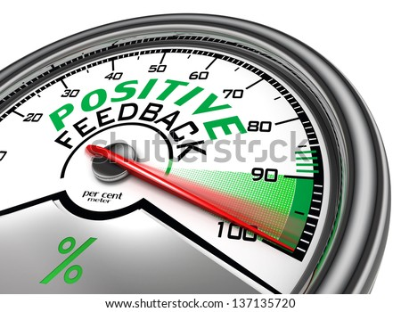 positive feedback conceptual meter indicate hundred per cent, isolated on white background - stock photo