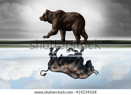 Positive financial outlook business concept as a bear casting a reflection of a forward moving bull as a hopeful forecast in stock market investing in a 3d illustration style. - stock photo