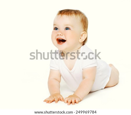 Positive funny baby on a white background - stock photo