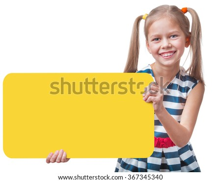 Positive girl holding empty yellow square a sign, isolated on white background - stock photo