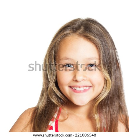 positive girl with blue eyes isolated on white background