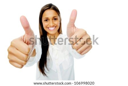 Positive hand gesture businesswoman giving thumbs up sign of motivation or encouragement. Isolated on white background. - stock photo