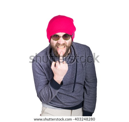 positive handsome young bearded hipster in pink knitted hat, expresses various emotions and shows different signs the fingers. isolated on white background. - stock photo