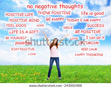 Positive happy woman on abstract design background. - stock photo