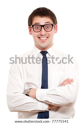 Positive man. Isoalated over white. - stock photo