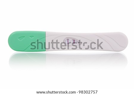 Positive pregnancy test, isolated on white background.