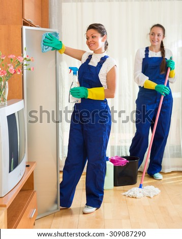 Positive smiling professional cleaners in uniform cleaning at the living room