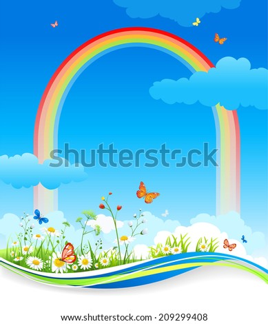 Positive summer background with rainbow. Raster version. - stock photo